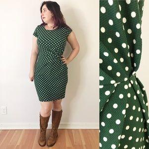 Modcloth Gathered Forest Green Polka Dot Dress L